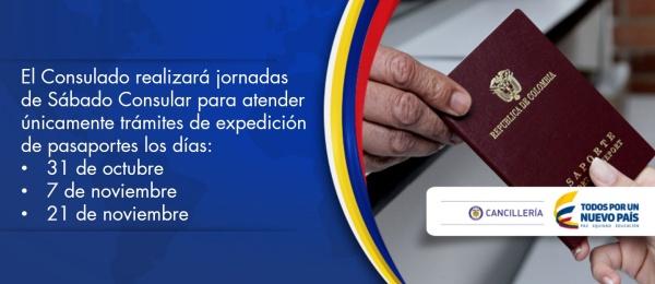 El Consulado de Colombia en Puerto La Cruz realizará sábados consulares para atender trámites de expedición de pasaportes los días 31 de octubre, y 7 y 21 de noviembre
